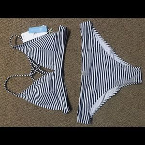 Stripped bathing suit